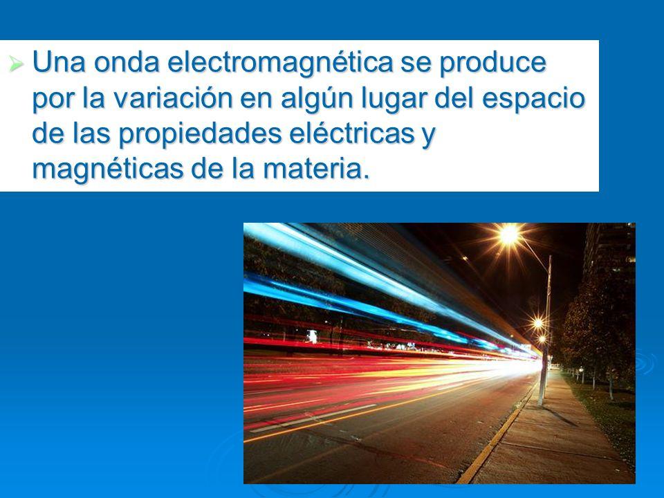 Una onda electromagnética se produce por la variación en algún lugar del espacio de las propiedades eléctricas y magnéticas de la materia.