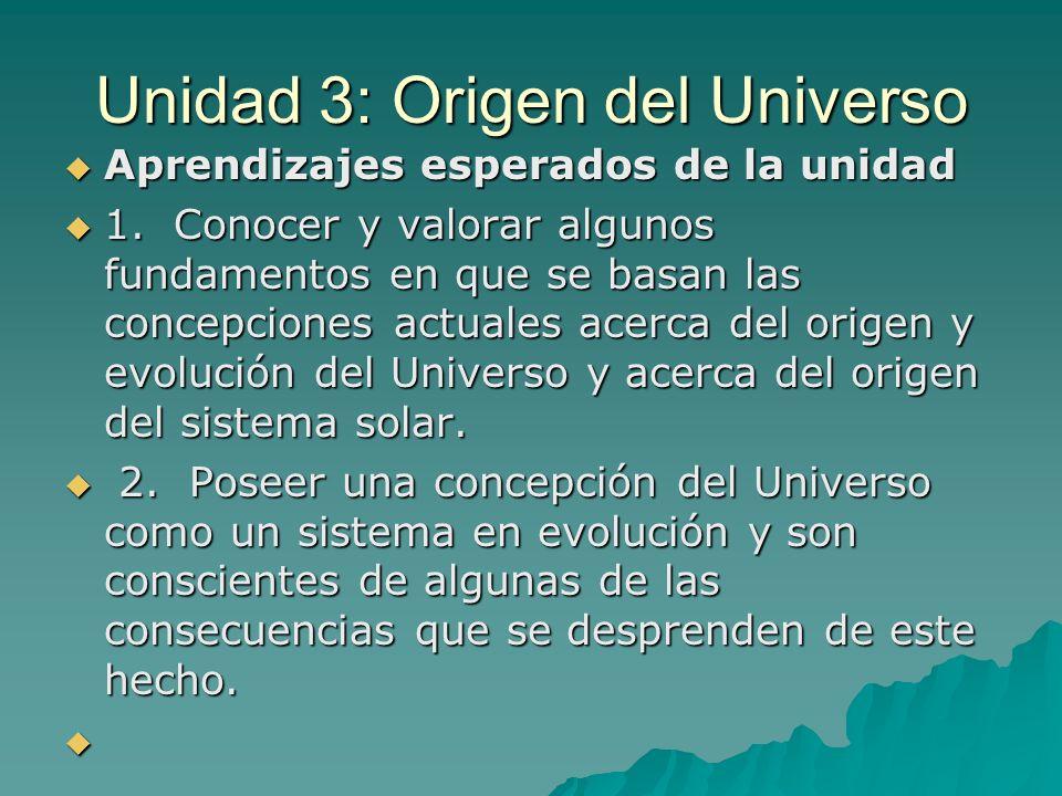 Unidad 3: Origen del Universo