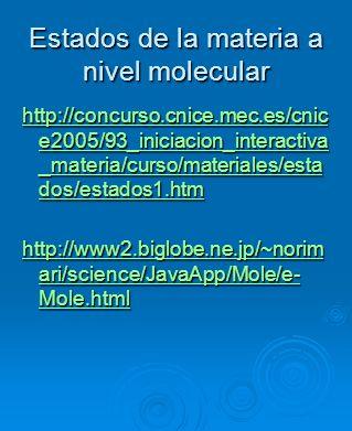 Estados de la materia a nivel molecular