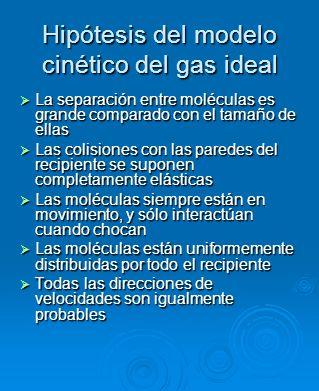 Hipótesis del modelo cinético del gas ideal