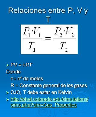 Relaciones entre P, V y T PV = nRT Donde n= nº de moles