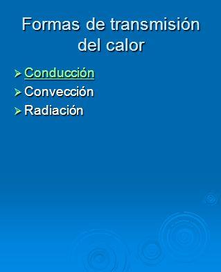 Formas de transmisión del calor
