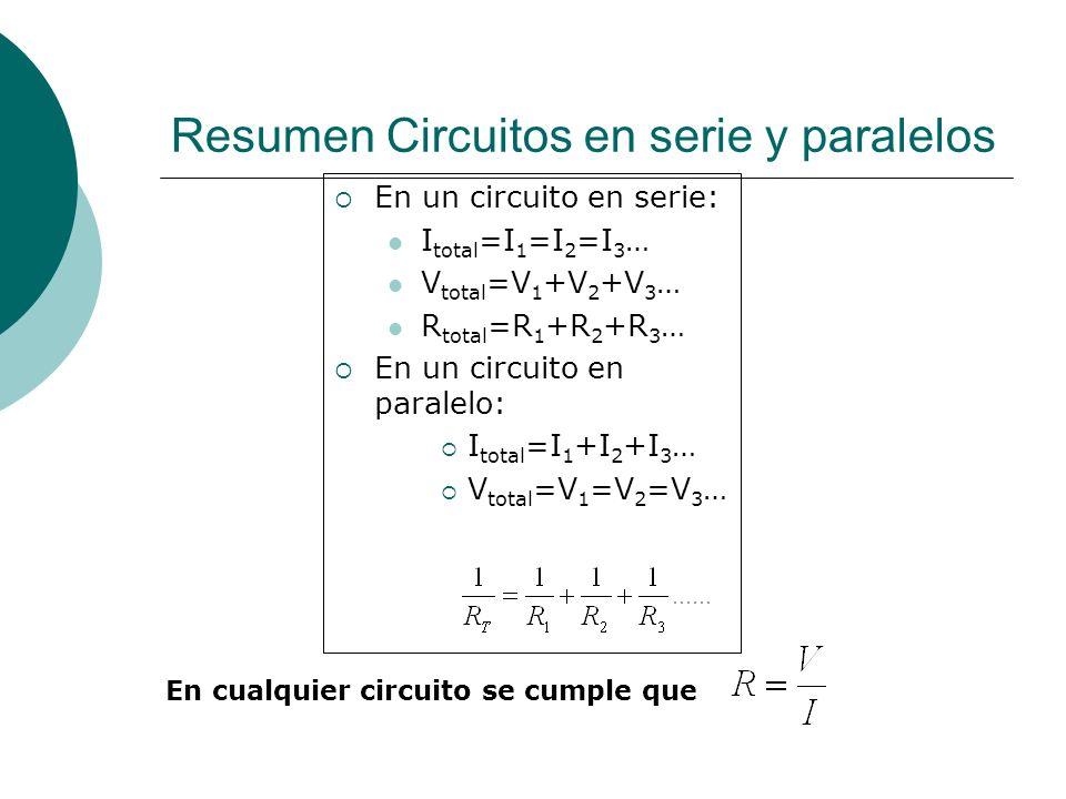 Resumen Circuitos en serie y paralelos
