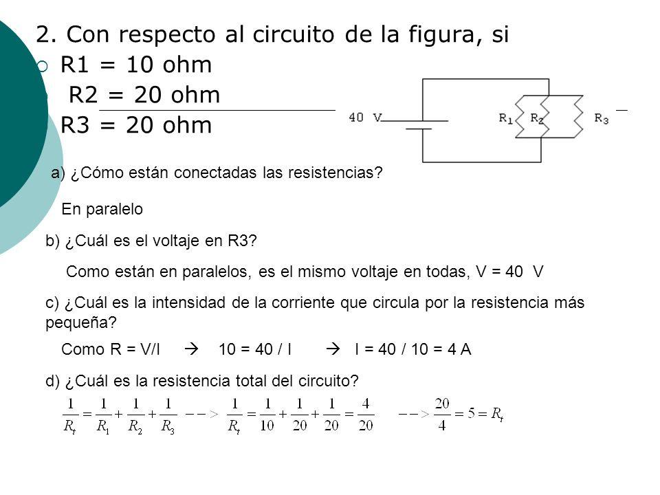 2. Con respecto al circuito de la figura, si R1 = 10 ohm R2 = 20 ohm