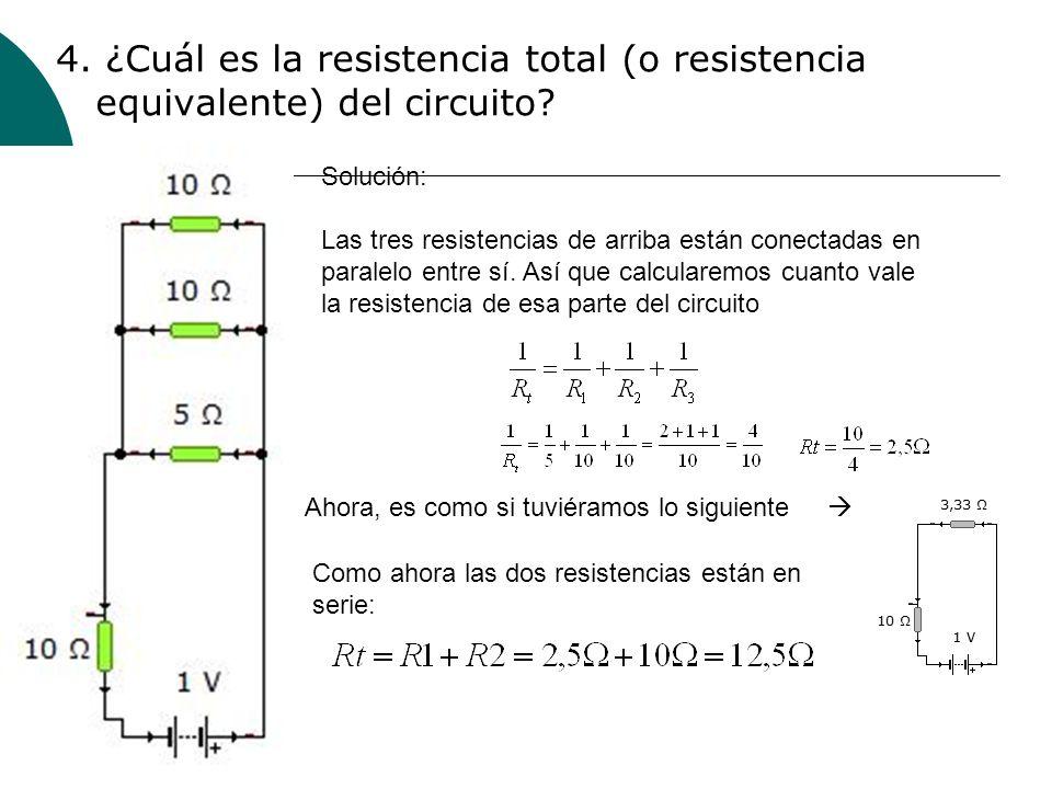 4. ¿Cuál es la resistencia total (o resistencia equivalente) del circuito