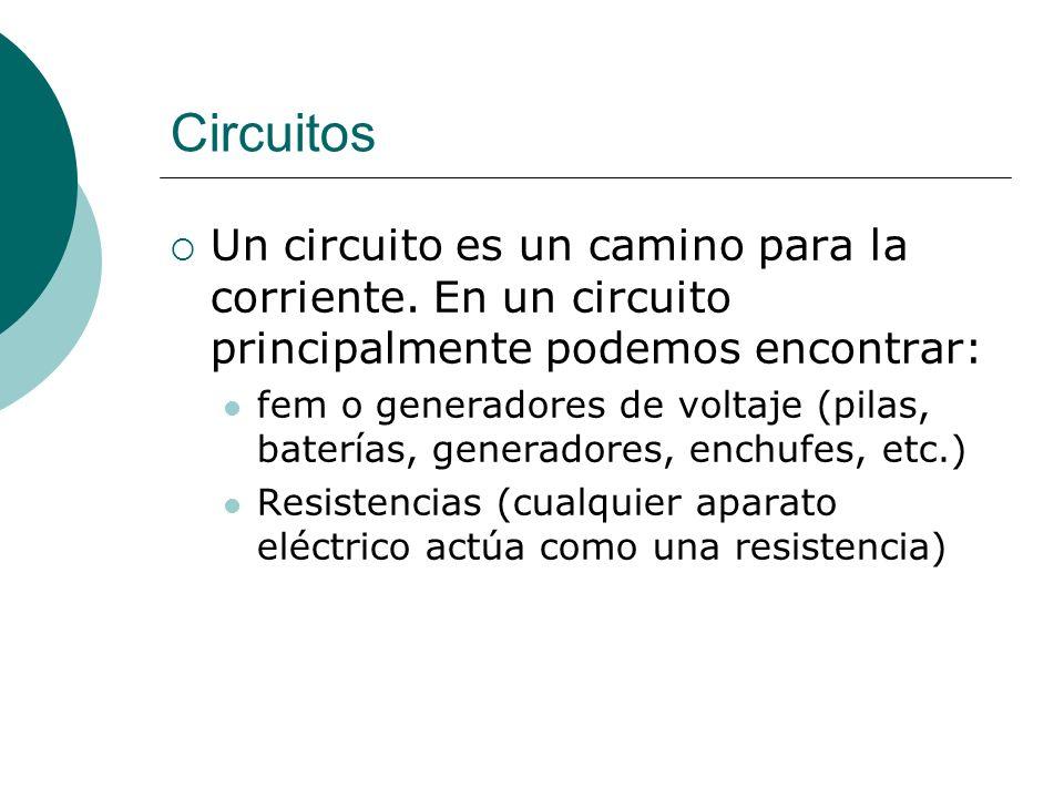 Circuitos Un circuito es un camino para la corriente. En un circuito principalmente podemos encontrar: