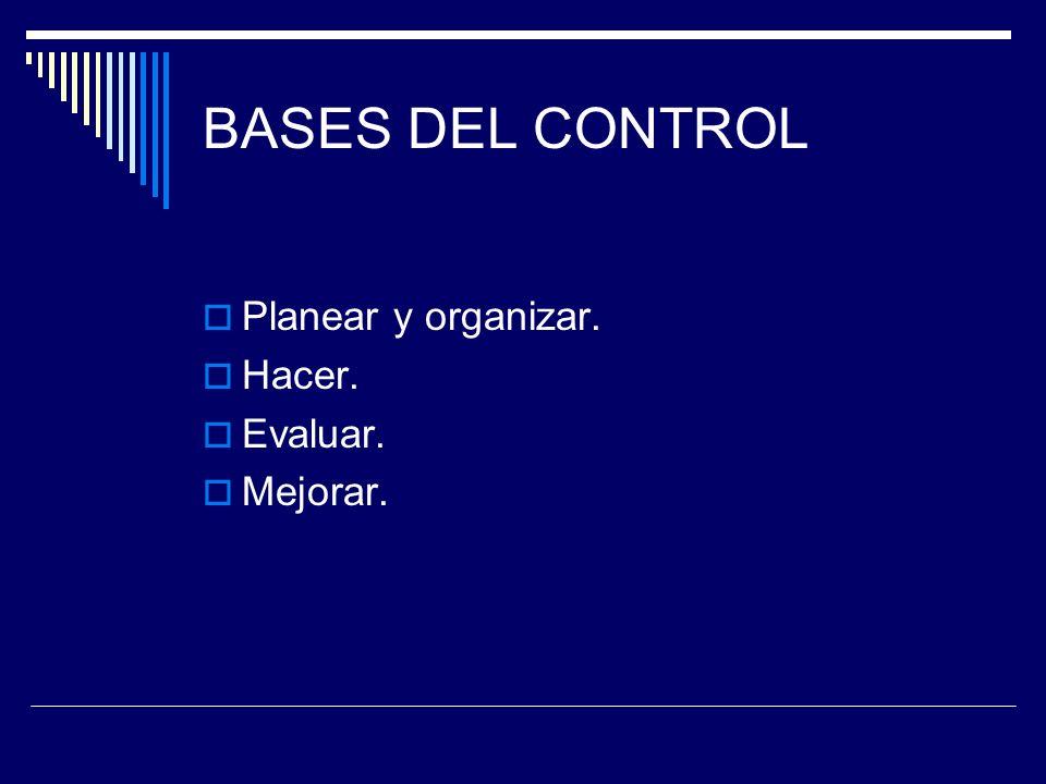 BASES DEL CONTROL Planear y organizar. Hacer. Evaluar. Mejorar.