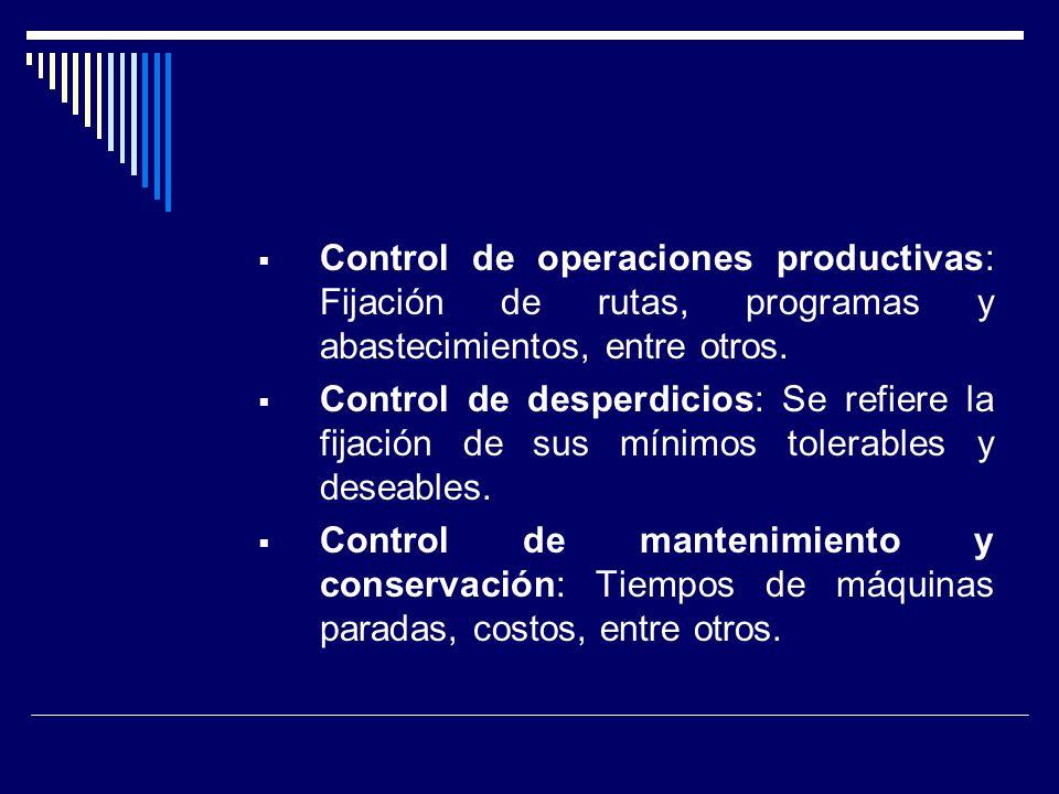 Control de operaciones productivas: Fijación de rutas, programas y abastecimientos, entre otros.