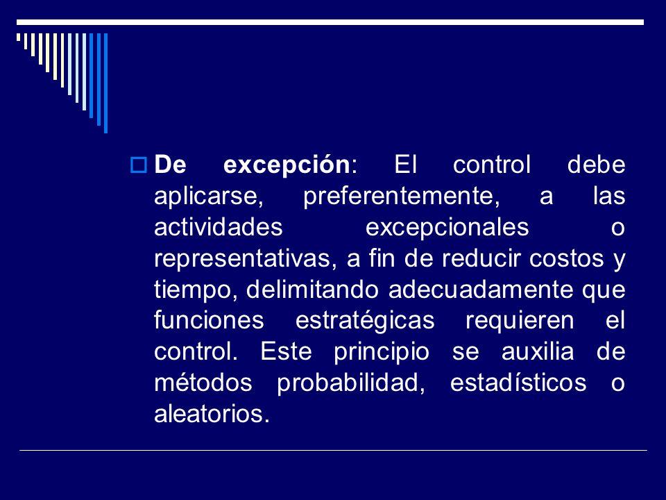 De excepción: El control debe aplicarse, preferentemente, a las actividades excepcionales o representativas, a fin de reducir costos y tiempo, delimitando adecuadamente que funciones estratégicas requieren el control.
