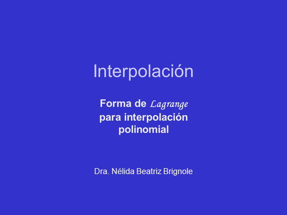 Forma de Lagrange para interpolación polinomial