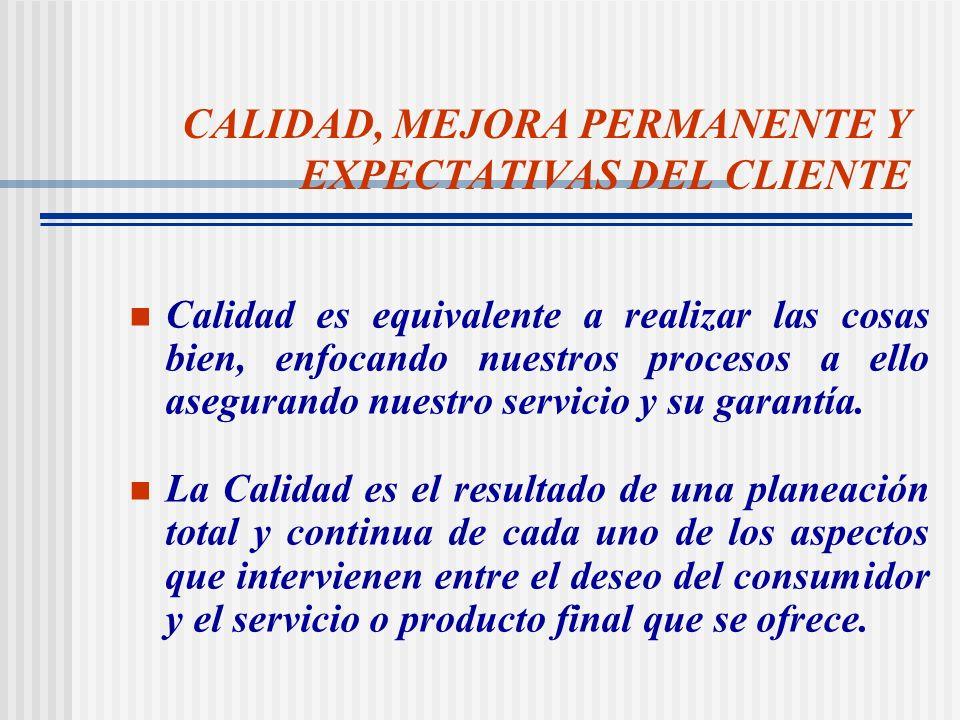 CALIDAD, MEJORA PERMANENTE Y EXPECTATIVAS DEL CLIENTE
