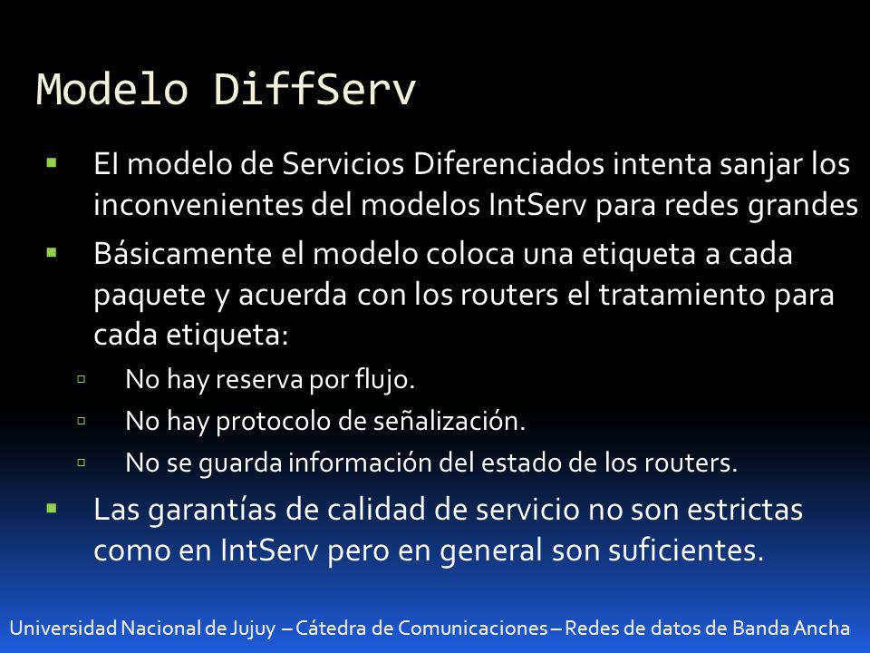 Modelo DiffServ EI modelo de Servicios Diferenciados intenta sanjar los inconvenientes del modelos IntServ para redes grandes.