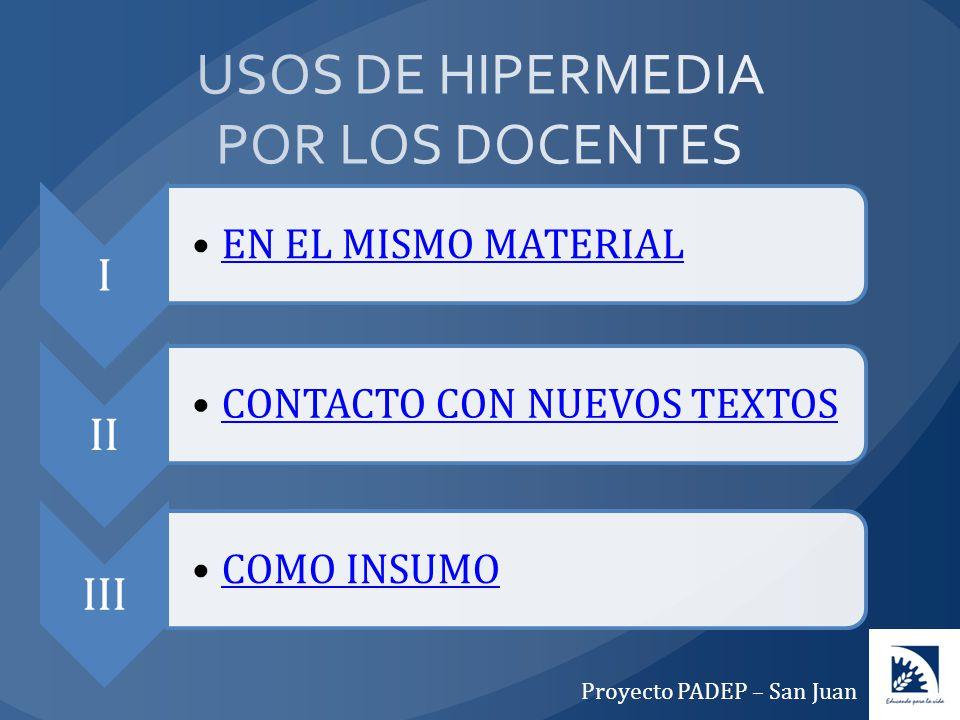 USOS DE HIPERMEDIA POR LOS DOCENTES