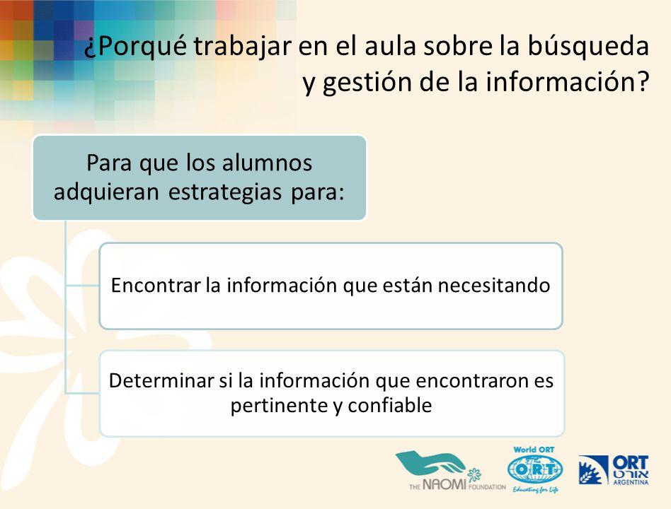 ¿Porqué trabajar en el aula sobre la búsqueda y gestión de la información
