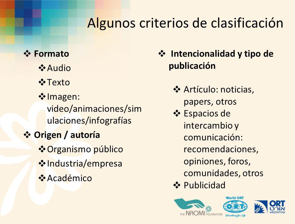 Algunos criterios de clasificación