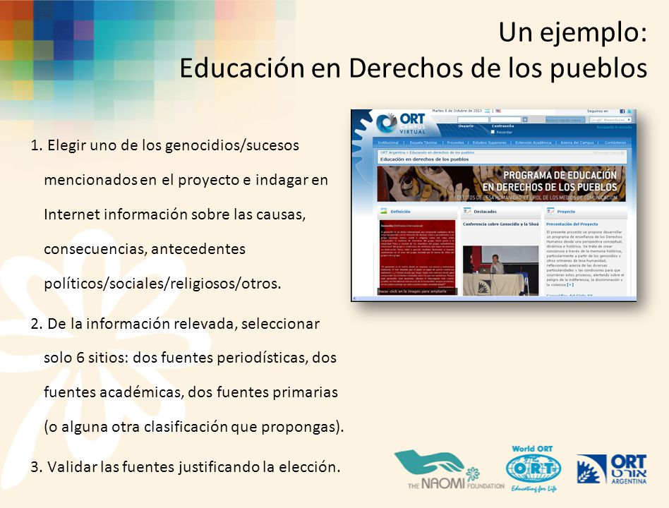 Un ejemplo: Educación en Derechos de los pueblos