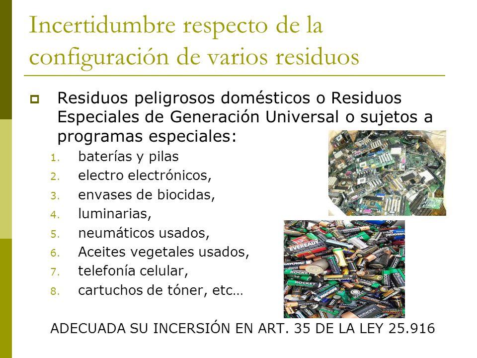 Incertidumbre respecto de la configuración de varios residuos