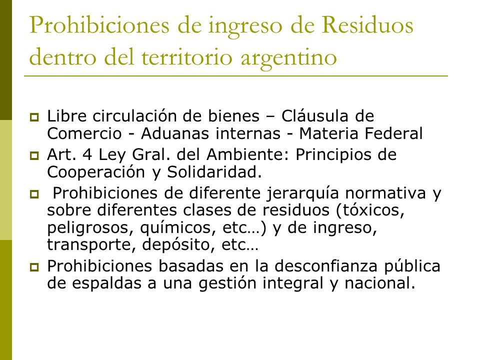 Prohibiciones de ingreso de Residuos dentro del territorio argentino