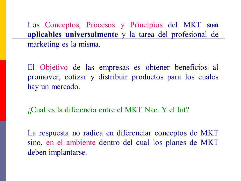 Los Conceptos, Procesos y Principios del MKT son aplicables universalmente y la tarea del profesional de marketing es la misma.