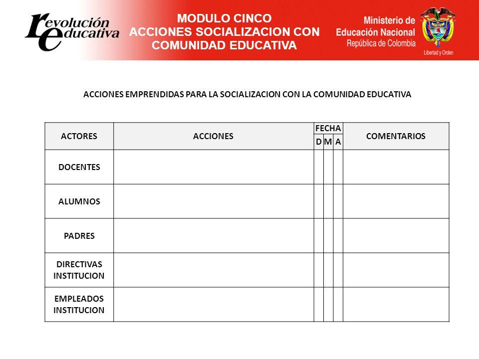 MODULO CINCO ACCIONES SOCIALIZACION CON COMUNIDAD EDUCATIVA