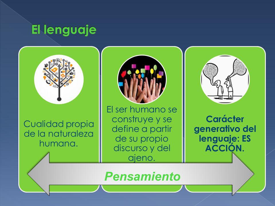 Carácter generativo del lenguaje: ES ACCIÓN.