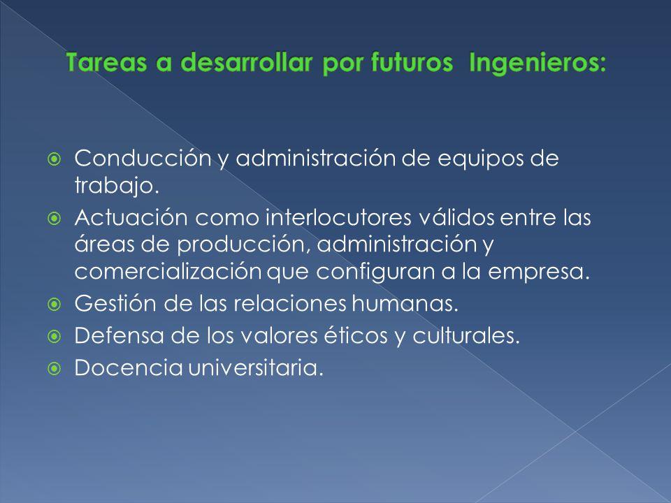 Tareas a desarrollar por futuros Ingenieros: