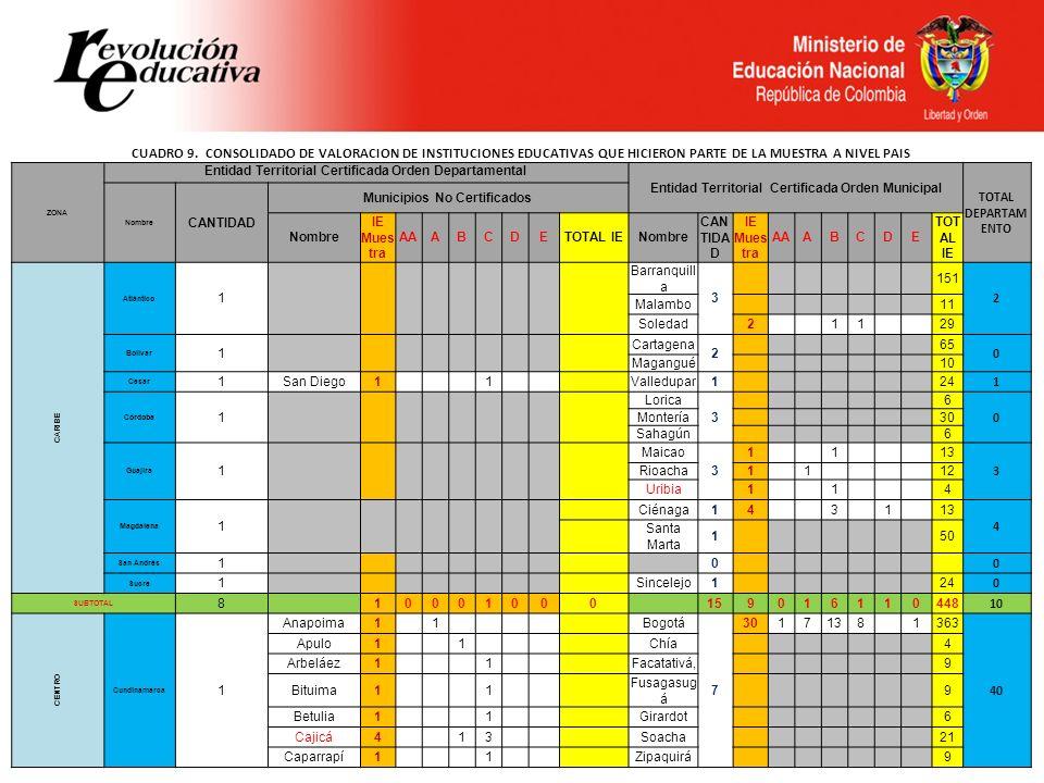CUADRO 9. CONSOLIDADO DE VALORACION DE INSTITUCIONES EDUCATIVAS QUE HICIERON PARTE DE LA MUESTRA A NIVEL PAIS