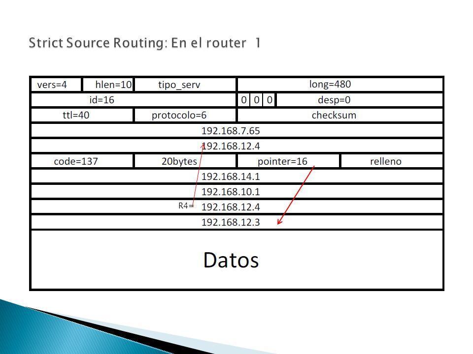Strict Source Routing: En el router 1