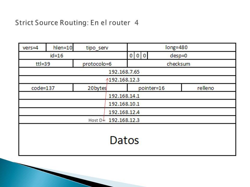 Strict Source Routing: En el router 4