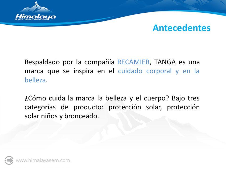 Antecedentes Respaldado por la compañía RECAMIER, TANGA es una marca que se inspira en el cuidado corporal y en la belleza.