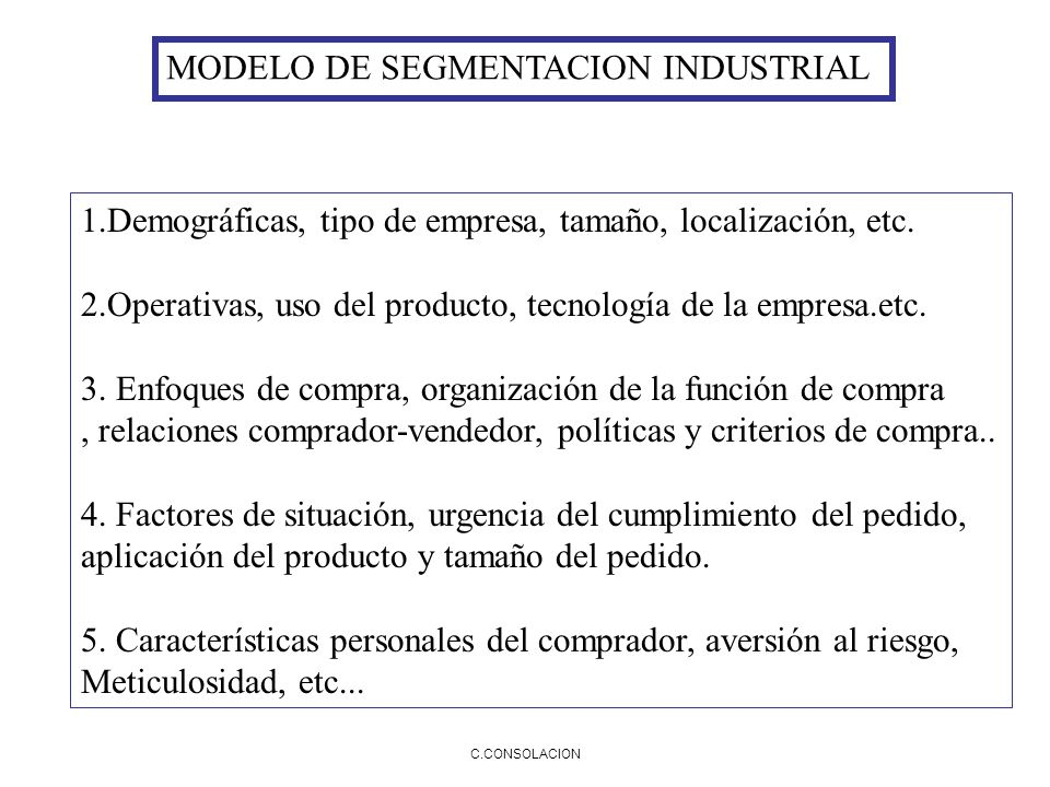 MODELO DE SEGMENTACION INDUSTRIAL