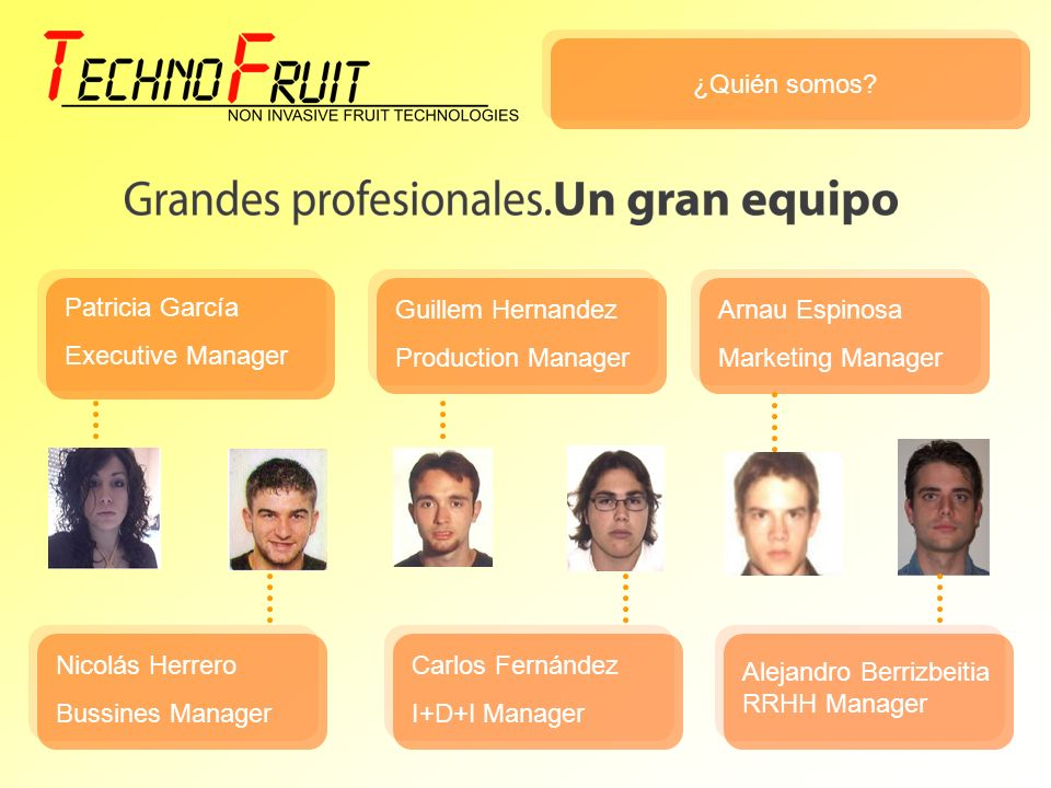 ¿Quién somos Patricia García. Executive Manager. Guillem Hernandez. Production Manager. Arnau Espinosa.