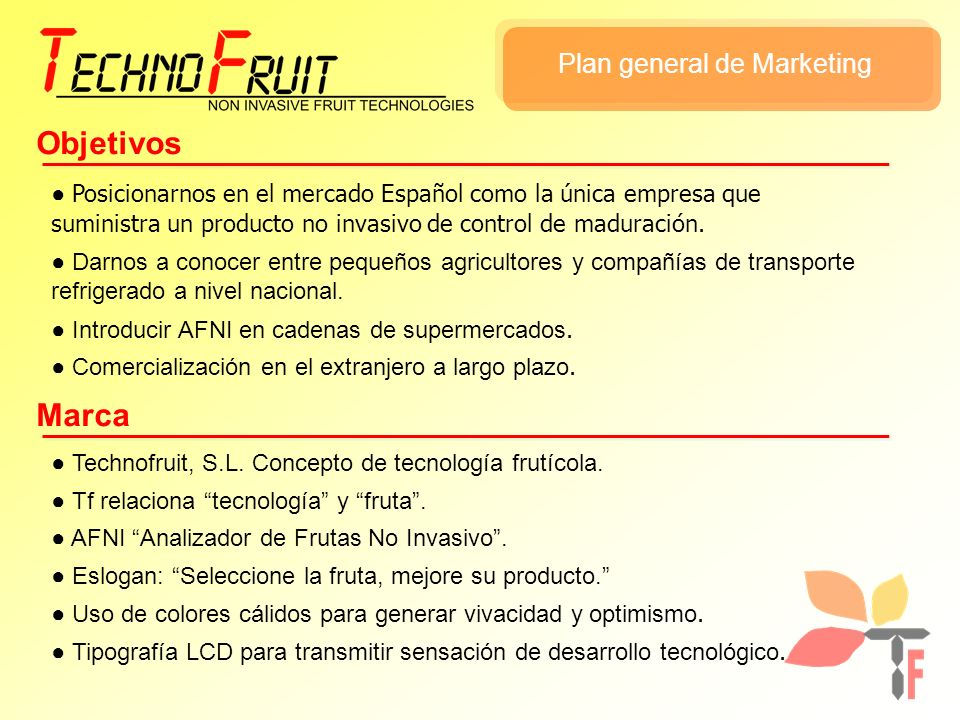 Objetivos Marca Plan general de Marketing
