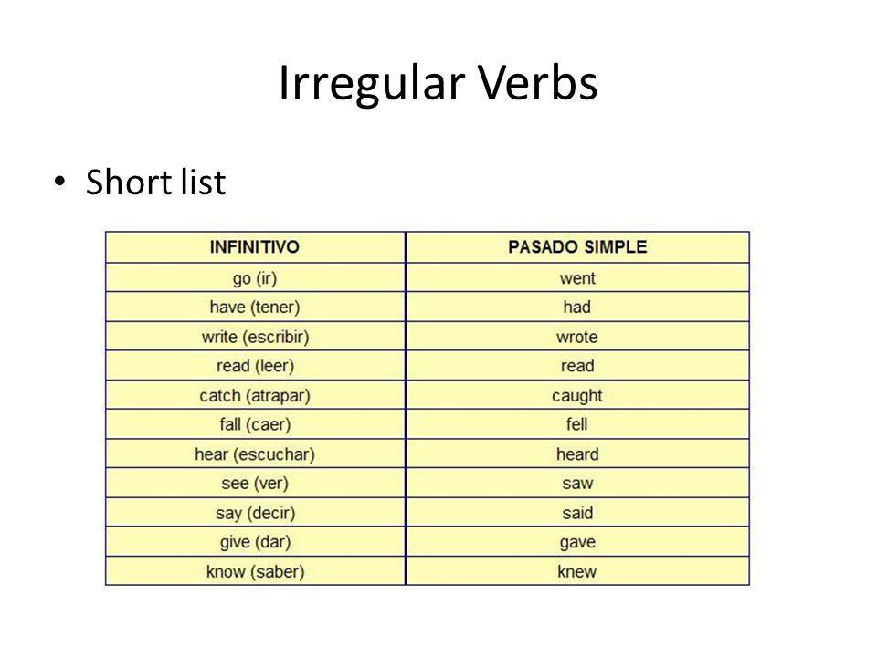 Irregular Verbs Short list