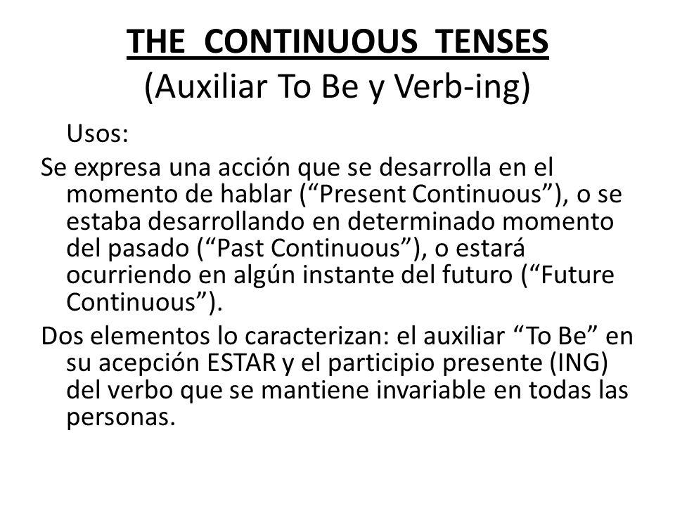 THE CONTINUOUS TENSES (Auxiliar To Be y Verb-ing)