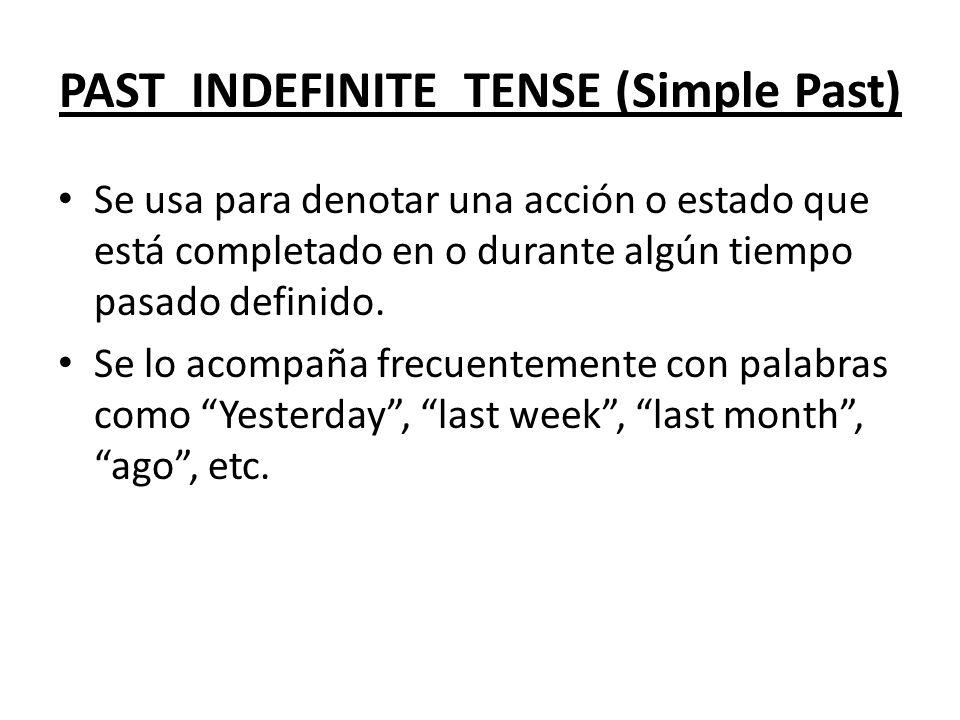 PAST INDEFINITE TENSE (Simple Past)