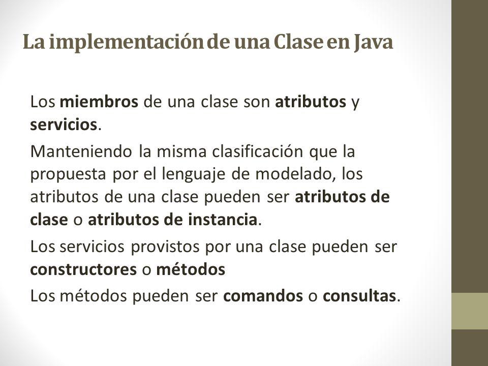 La implementación de una Clase en Java
