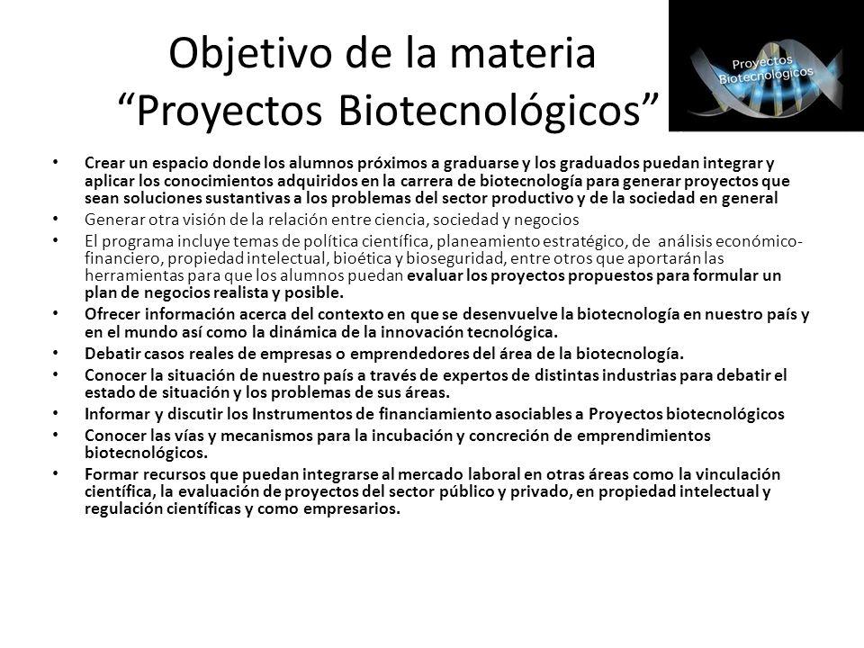 Objetivo de la materia Proyectos Biotecnológicos