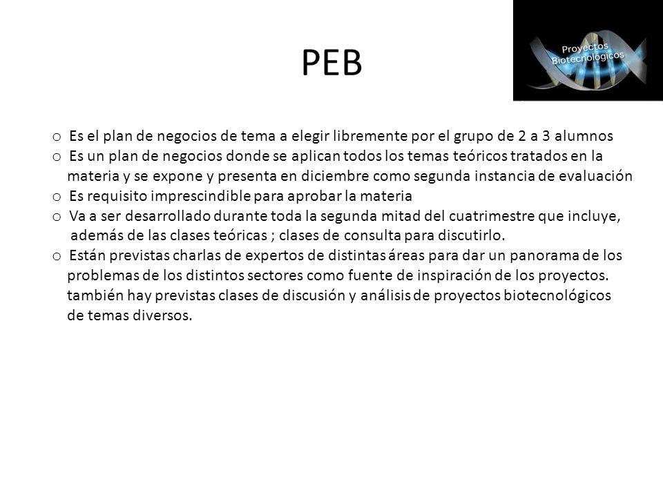 PEB Es el plan de negocios de tema a elegir libremente por el grupo de 2 a 3 alumnos.