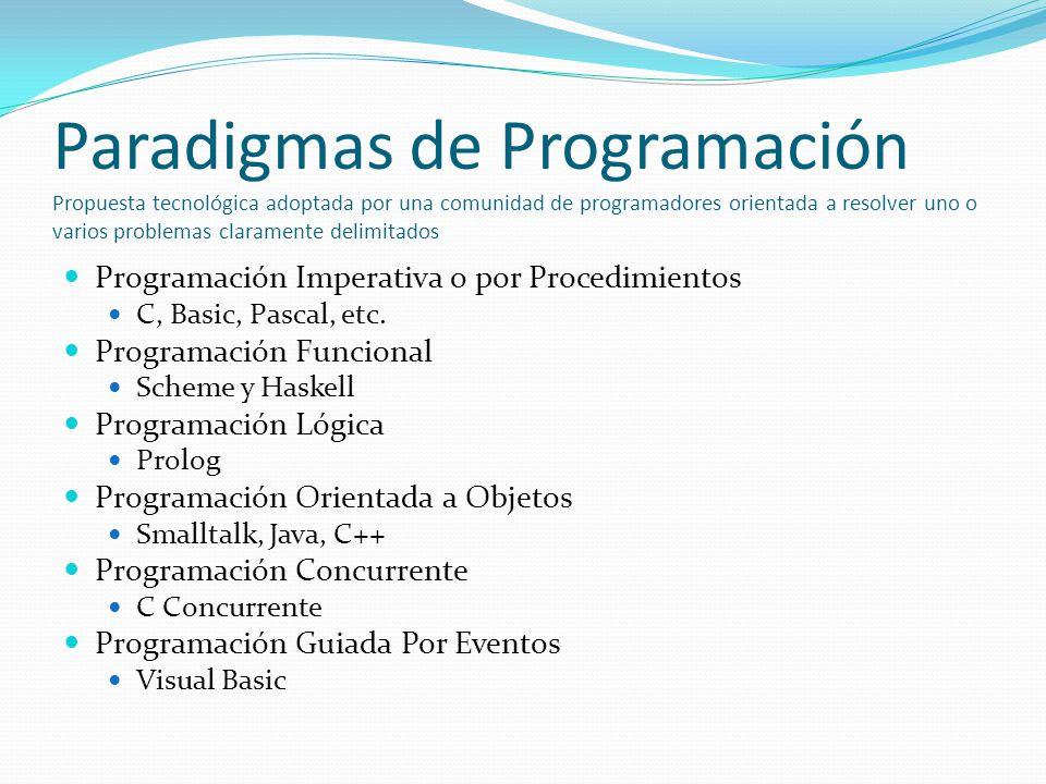 Paradigmas de Programación Propuesta tecnológica adoptada por una comunidad de programadores orientada a resolver uno o varios problemas claramente delimitados