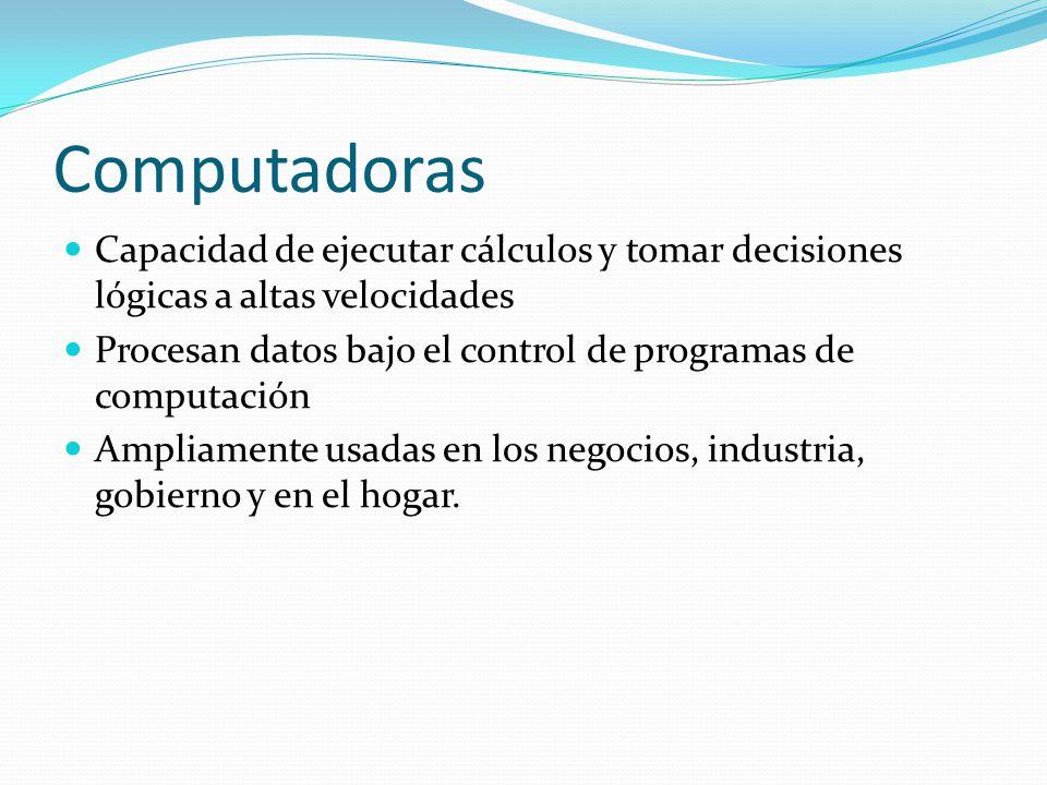 Computadoras Capacidad de ejecutar cálculos y tomar decisiones lógicas a altas velocidades.
