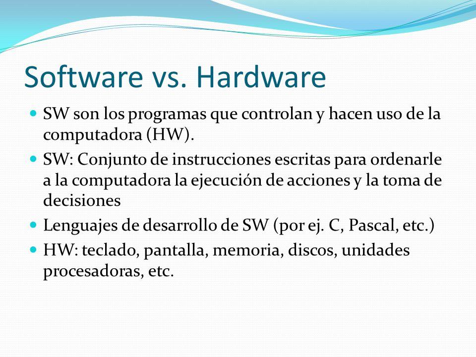 Software vs. Hardware SW son los programas que controlan y hacen uso de la computadora (HW).