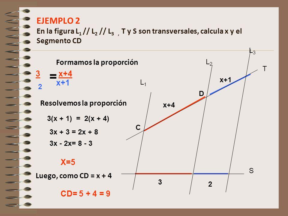 EJEMPLO 2 En la figura L1 // L2 // L3 , T y S son transversales, calcula x y el Segmento CD
