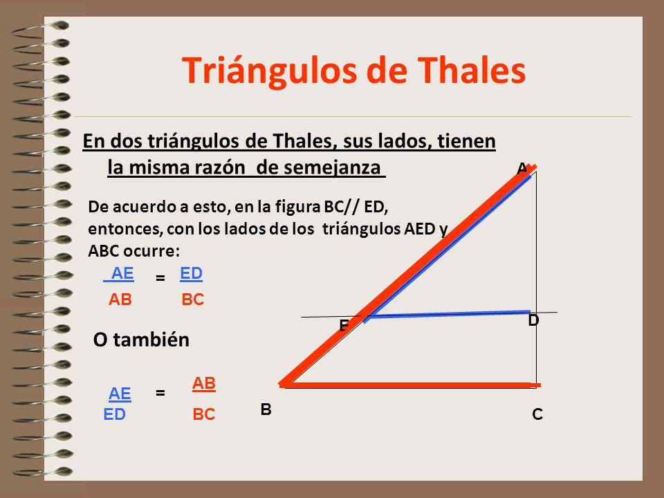 Triángulos de Thales En dos triángulos de Thales, sus lados, tienen la misma razón de semejanza B.