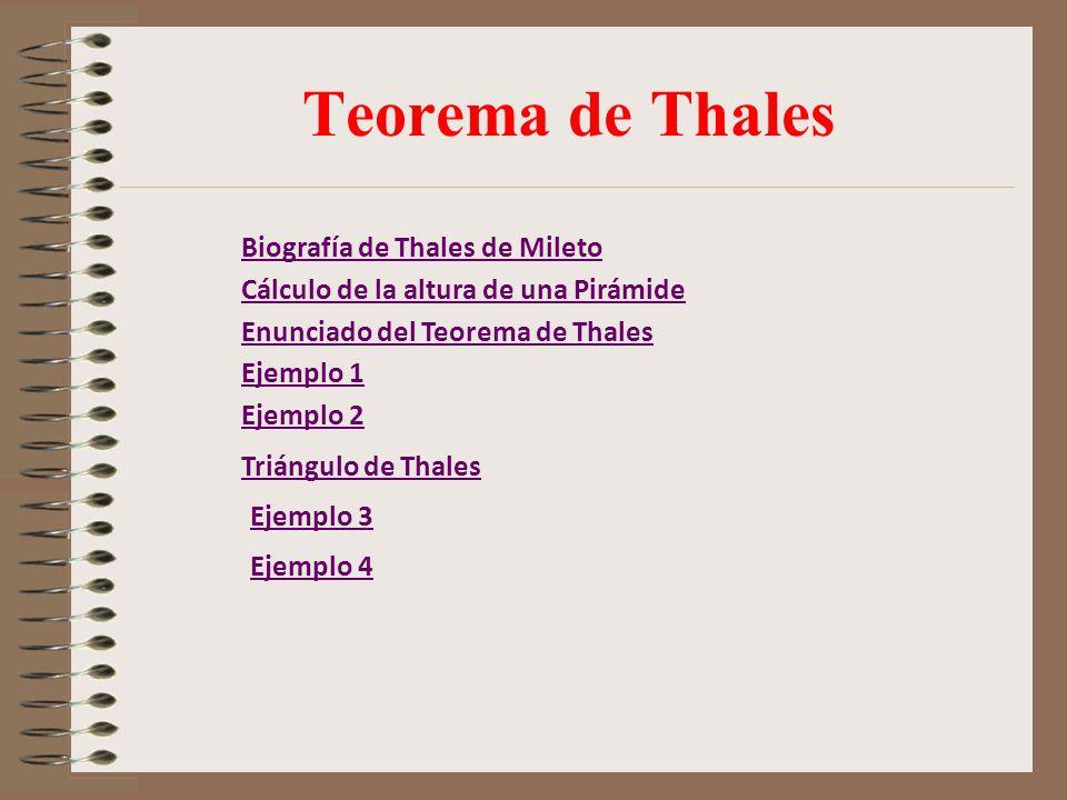 Teorema de Thales Biografía de Thales de Mileto