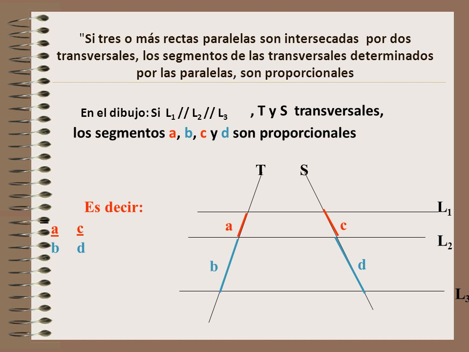 los segmentos a, b, c y d son proporcionales
