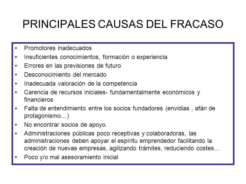 PRINCIPALES CAUSAS DEL FRACASO