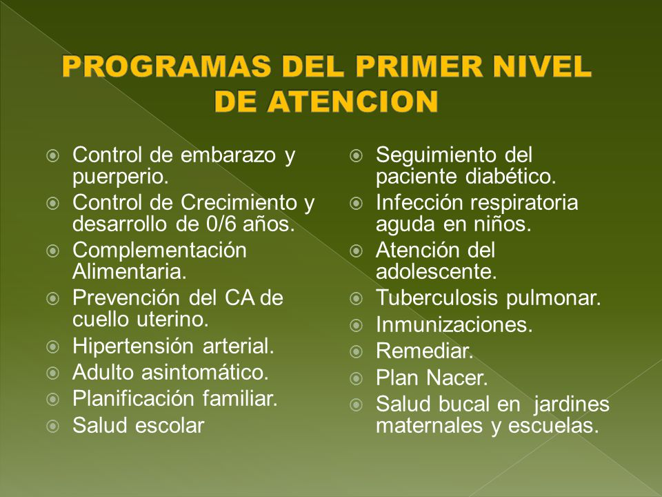 PROGRAMAS DEL PRIMER NIVEL DE ATENCION