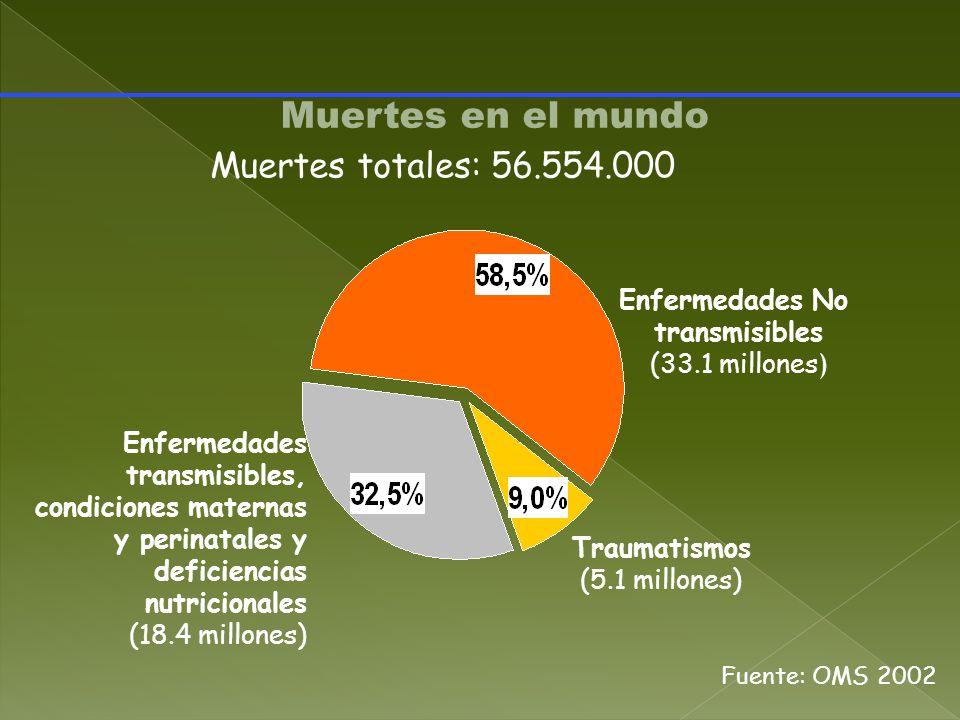 Muertes en el mundo Muertes totales: 56.554.000 Enfermedades No