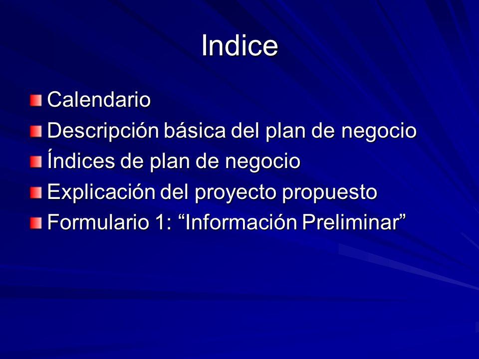 Indice Calendario Descripción básica del plan de negocio